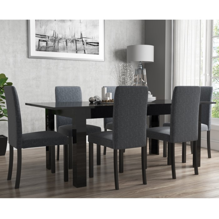 Vivienne Extendable Black High Gloss Dining Table 6 Slate Chairs