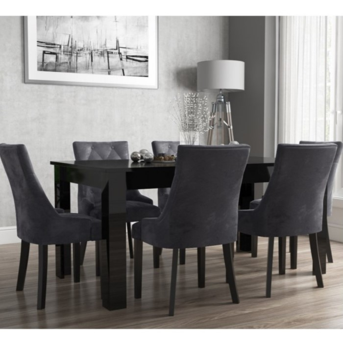 c779b0352a Vivienne Extendable Black High Gloss Dining Table + 6 Charcoal Grey Velvet  Chairs