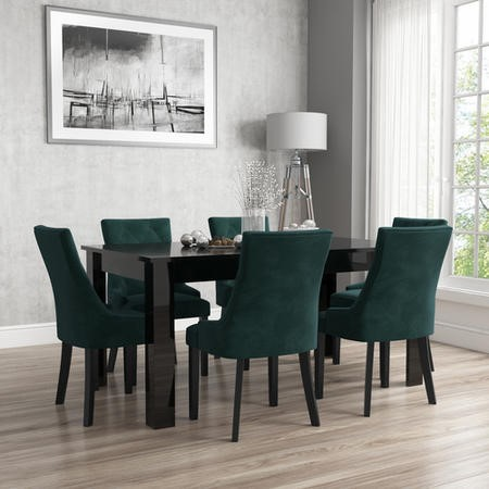 Vivienne Extendable Black High Gloss Dining Table + 6 Green Velvet Chairs