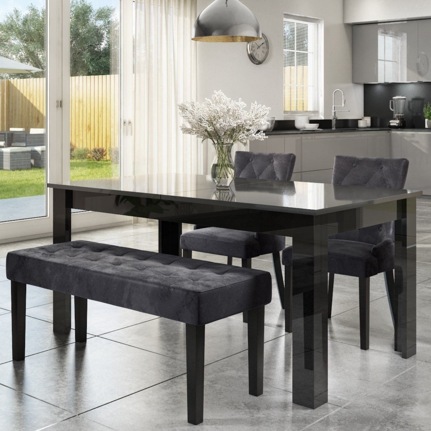 Extendable Dining Table In Black High Gloss With 2 Grey Velvet Chairs 1 Bench Vivienne Kaylee Furniture123