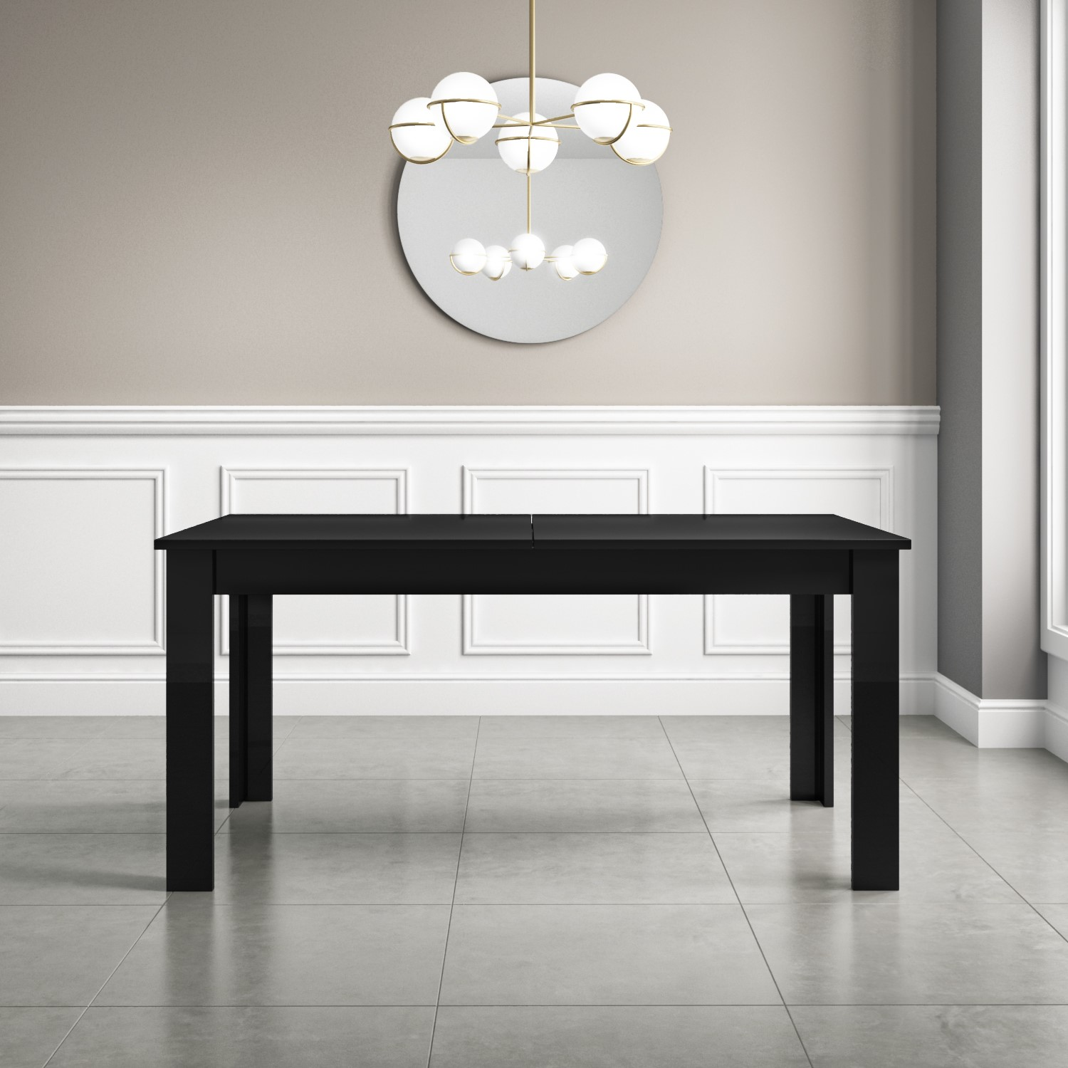 Remarkable Extendable Dining Table In Black High Gloss With 2 Grey Velvet Chairs 1 Bench Vivienne Kaylee Andrewgaddart Wooden Chair Designs For Living Room Andrewgaddartcom