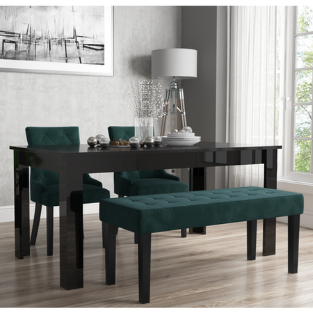 Extendable Dining Table in Black High Gloss with 2 Green Velvet Chairs & 1 Bench - Vivienne & Kaylee