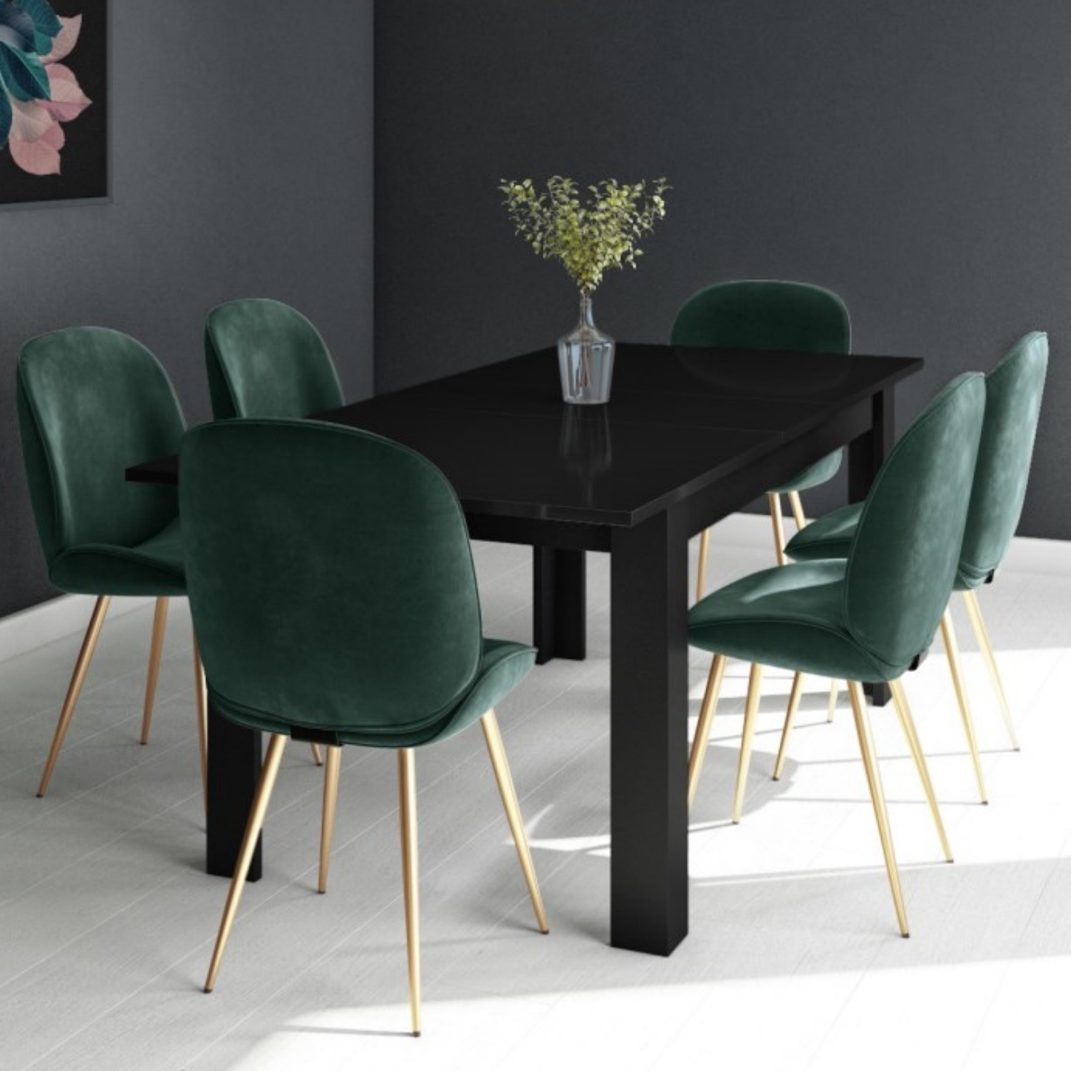 Picture of: Black Extendable Dining Table With 6 Gold Green Velvet Chairs Vivienne Jenna Furniture123