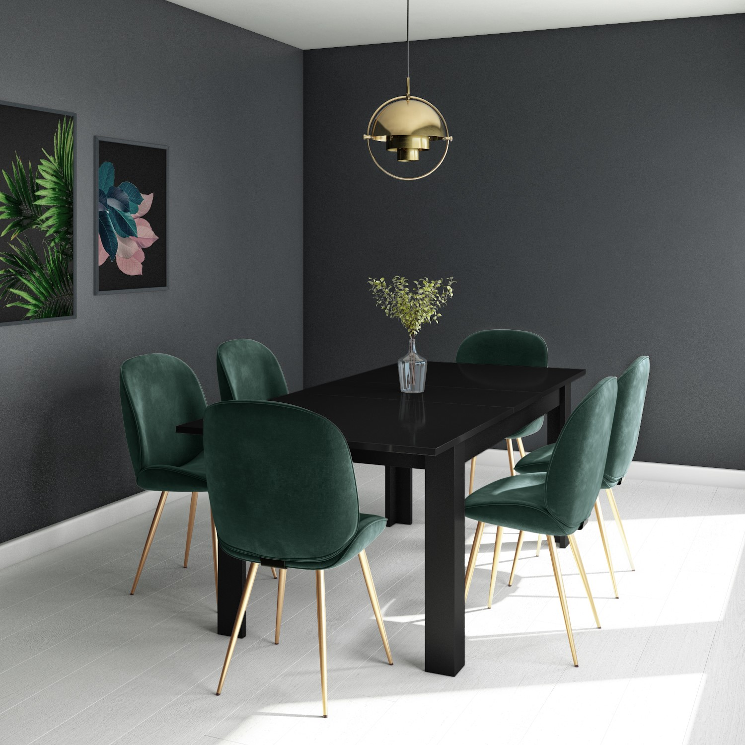 Black Extendable Dining Table With 6 Gold Green Velvet Chairs Vivienne Jenna Furniture123