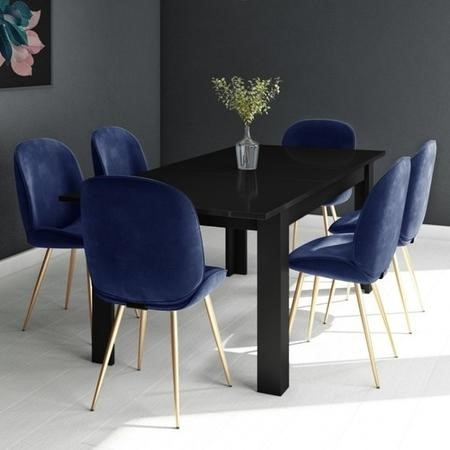 Black Extendable Dining Table with 6 Gold & Blue Velvet Chairs - Vivienne & Jenna
