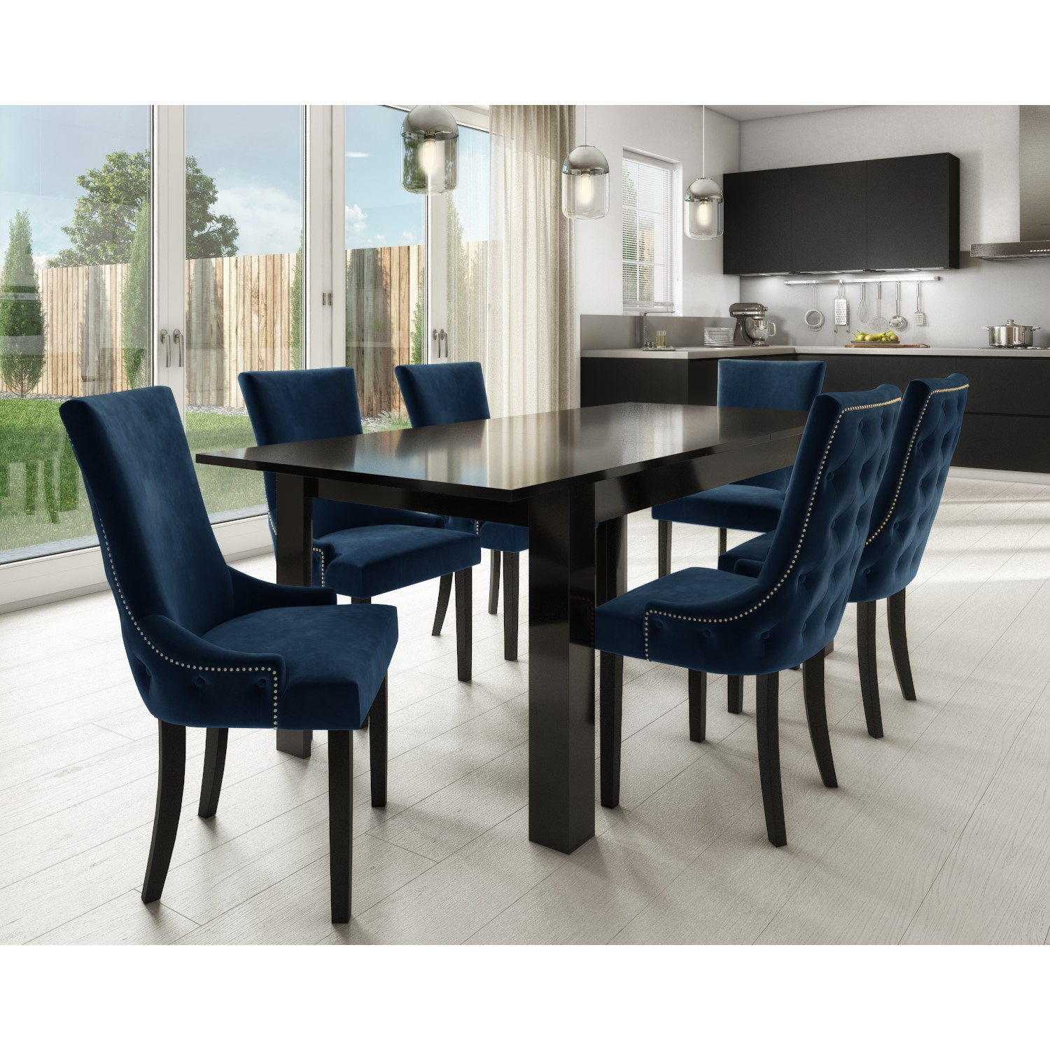 Black High Gloss Extending Dining Table with 6 Navy Blue Vel