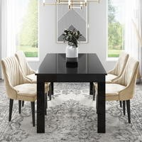 Vivienne Extending Black Gloss Dining Table with 4 Beige Velvet Dining Chairs