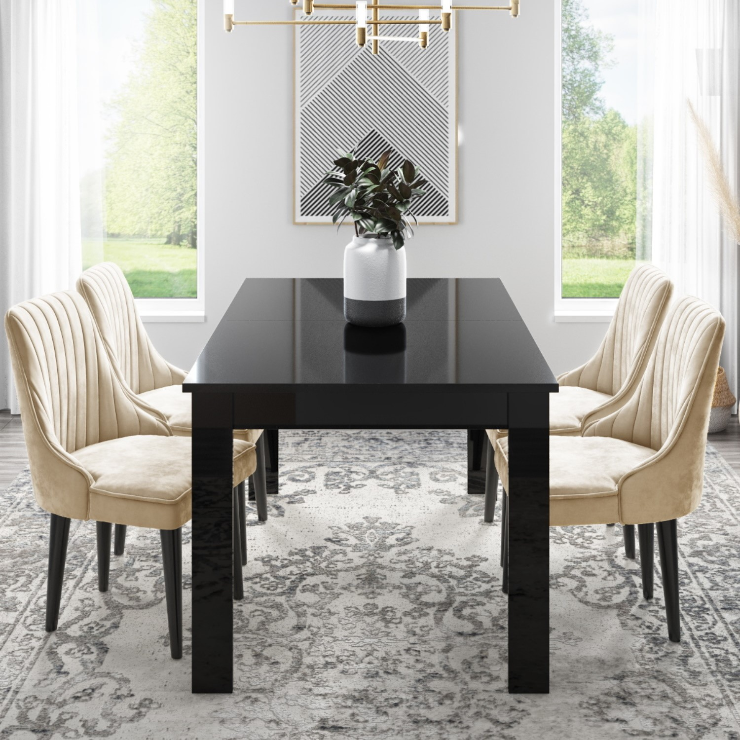 Vivienne Extending Black Gloss Dining Table with 4 Beige Vel