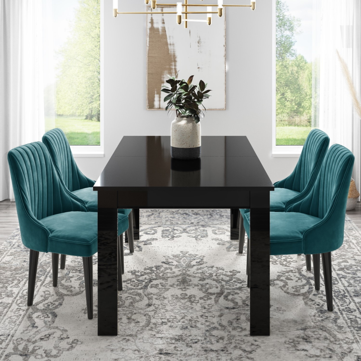 Vivienne Extending Black High Gloss Dining Table with 4 Pene