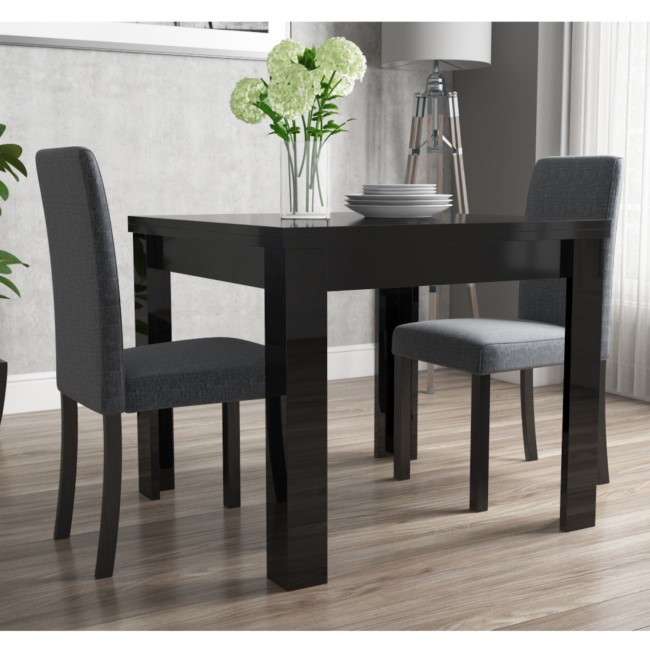 Flip Top Dining Table in Black High Gloss with 2 Grey Chairs - Vivienne & New Haven