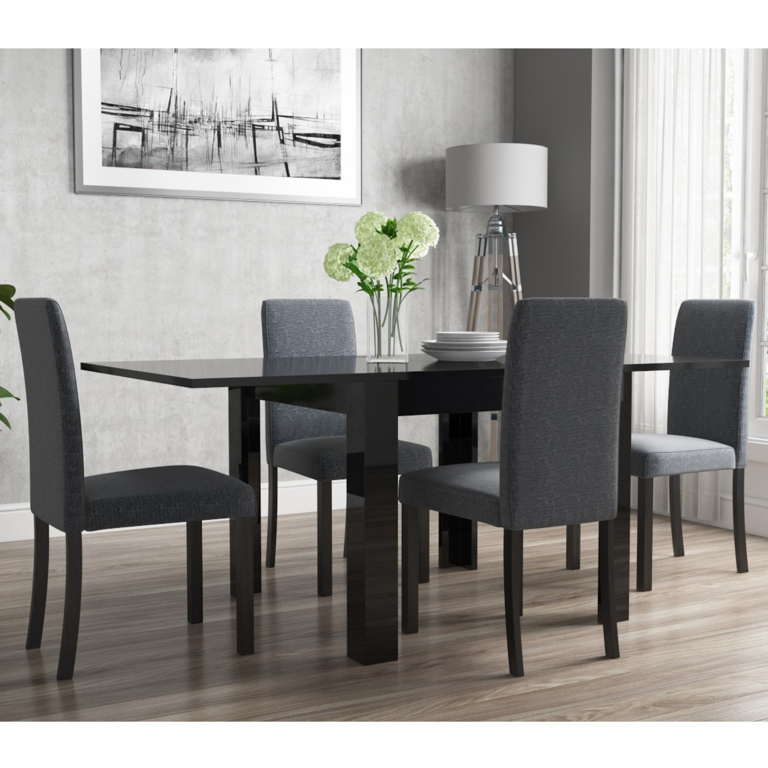 Flip Top Dining Table In Black High Gloss With 4 Slate Grey Chairs Vivienne New Haven Furniture123