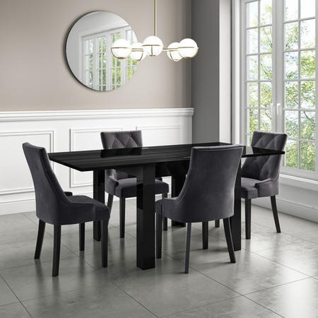 Flip Top Dining Table in Black High Gloss with 4 Grey Velvet Chairs - Vivienne & Kaylee