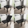 Flip Top Dining Table in Black High Gloss with 2 Grey Velvet Chairs & 1 Bench - Vivienne & Kaylee