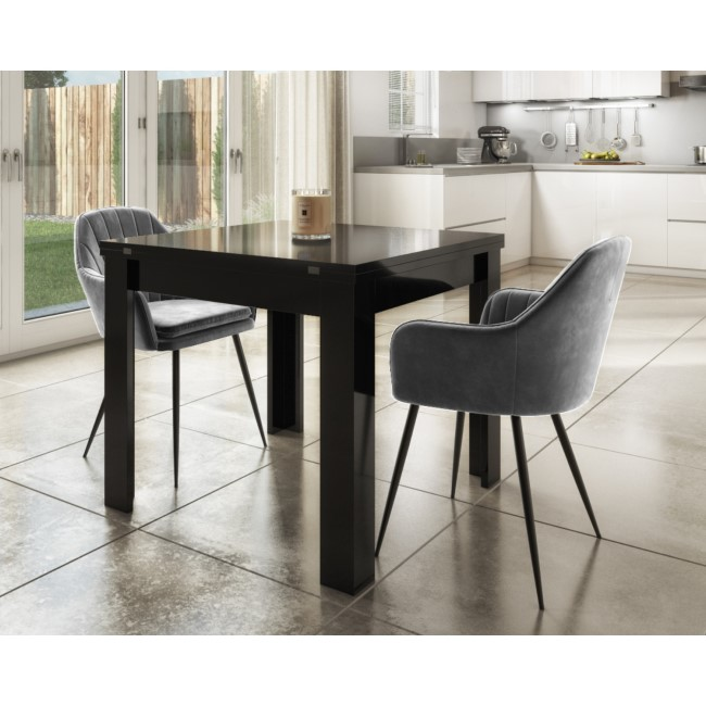 Extendable Dining Table in Black Gloss & 2 Chairs in Grey Velvet - Vivienne & Logan