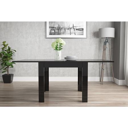 Black High Gloss Dining Table Flip Top - Vivienne