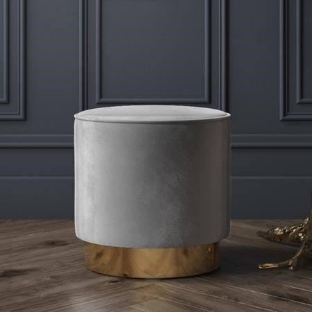 Xena Pouffe in Pale Grey Velvet - Small Round Upholstered Stool