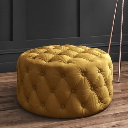 Xena Large Quilted Button Pouffe in Dark Mustard Velvet