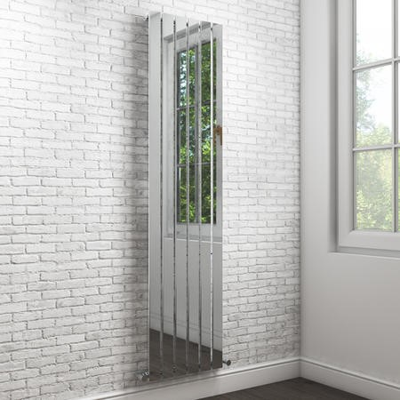 Chrome Vertical Tall Radiator with Flat Panels - 1800 x 450mm