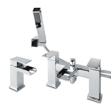Quadra Waterfall Basin Mixer and Bath Shower Mixer Tap Pack