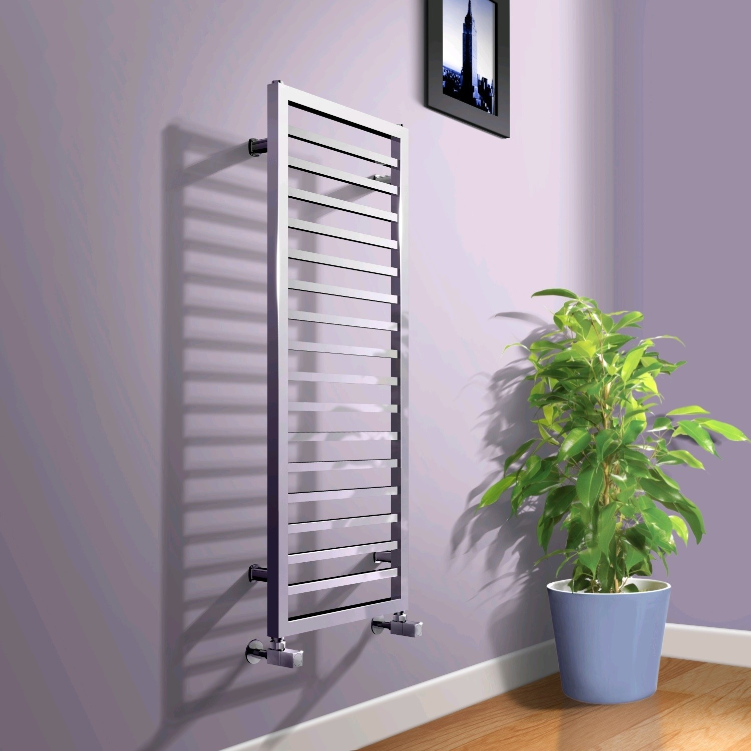 1150 x 450mm Square Chrome Heated Towel Rail  Julian Range