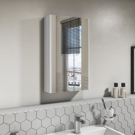 400mm White Gloss Wall Hung Mirrored Single Door Cabinet - Portland