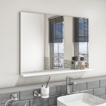900mm White Mirror With Shelf - Boston