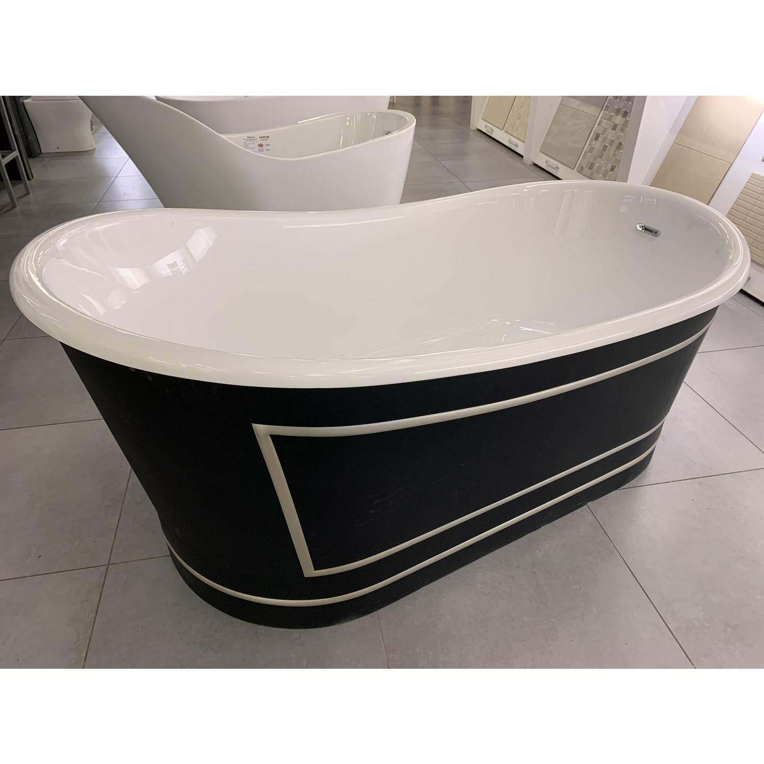 Metropolitan Black & Gold Double Ended Freestanding Bath  L1676 x W900mm