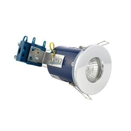 Fixed Fire Rated IP65 Chrome Downlight Warm White / Cool White Bulbs-No Bulb-Single