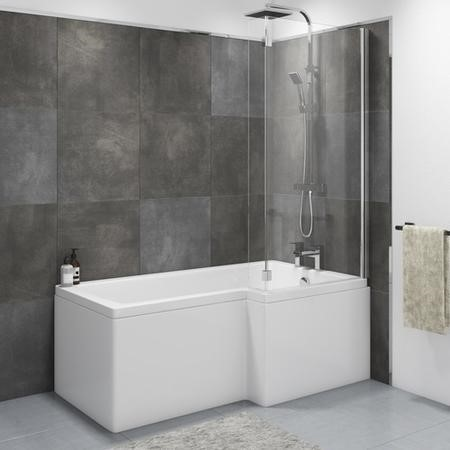 Lomax Right Hand L Shape Shower Bath - 1500 x 850mm