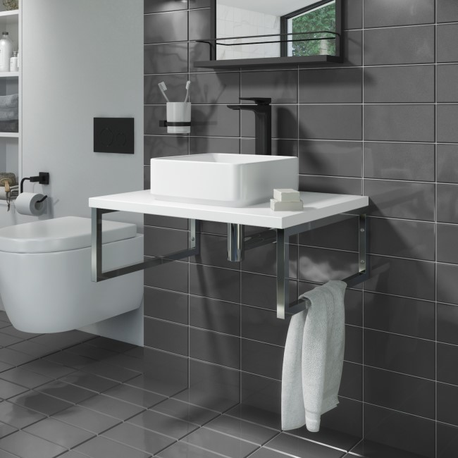 600mm Vanity Shelf for Basin Matt White - Lund
