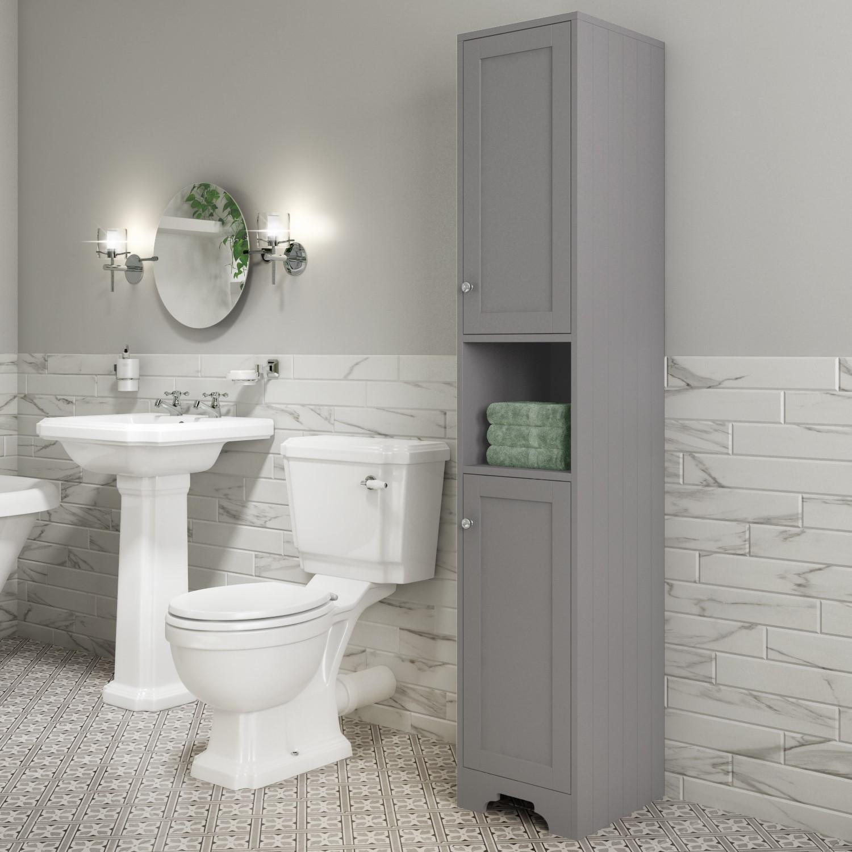Traditional Tall Boy Bathroom Cabinet Doors Shelves Matt Grey Baxenden Furniture123