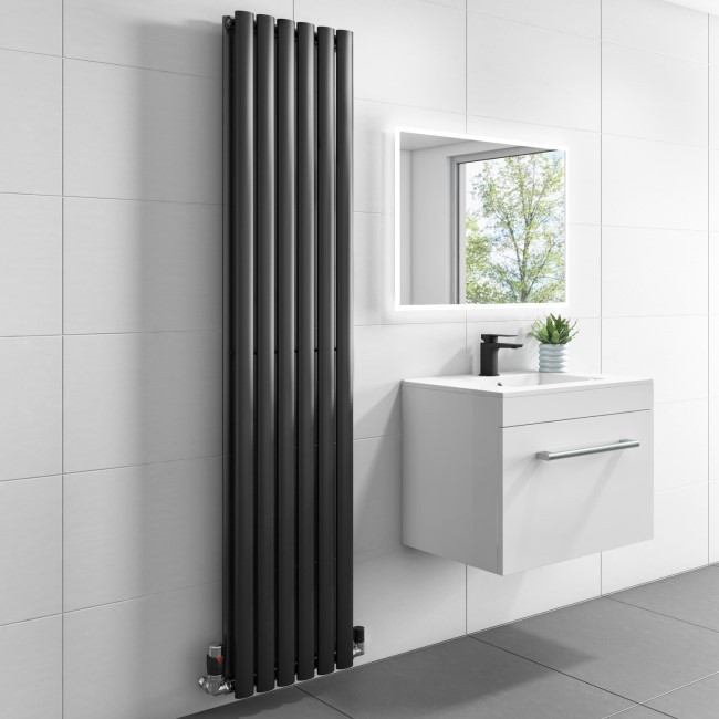 Margo Anthracite Double Panel Vertical Radiator - 1600 x 360mm