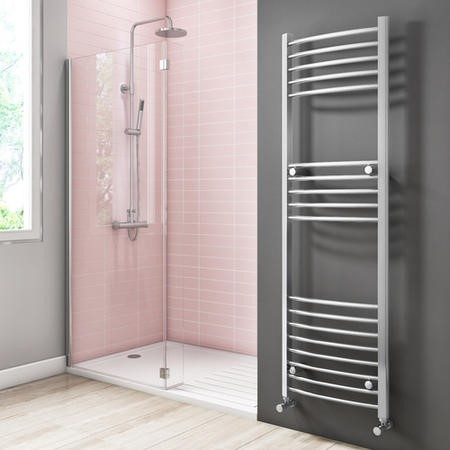 1600mm x 500mm Curved Chrome Towel Rail - Gobi