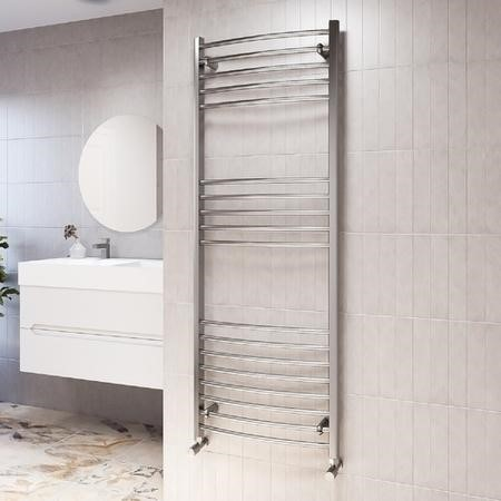 1600mm x 600mm Curved Chrome Towel Rail - Gobi
