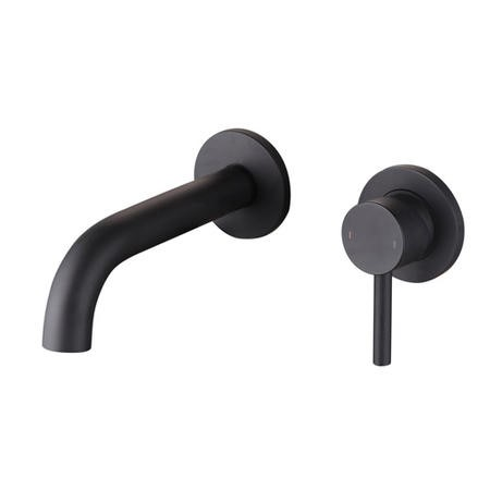 Arissa Round Matt Black Wall Mounted Basin Mixer Tap