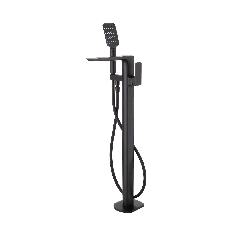 Zana Square Matt Black Freestanding Bath Shower Mixer Tap