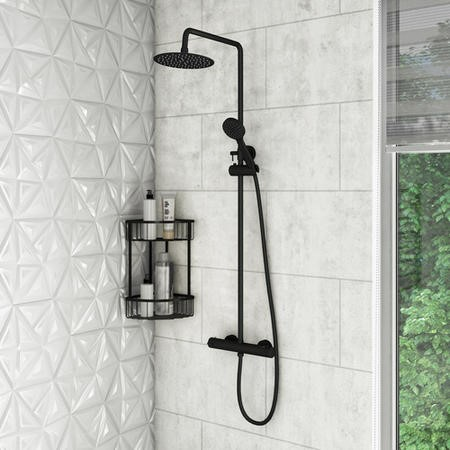 Arissa Matt Black Round Thermostatic Mixer Shower Set with Exposed Valve