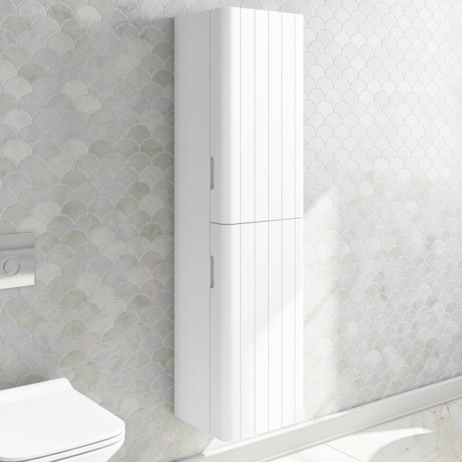 350mm Wall Hung Bathroom Storage Unit Matt White - Empire