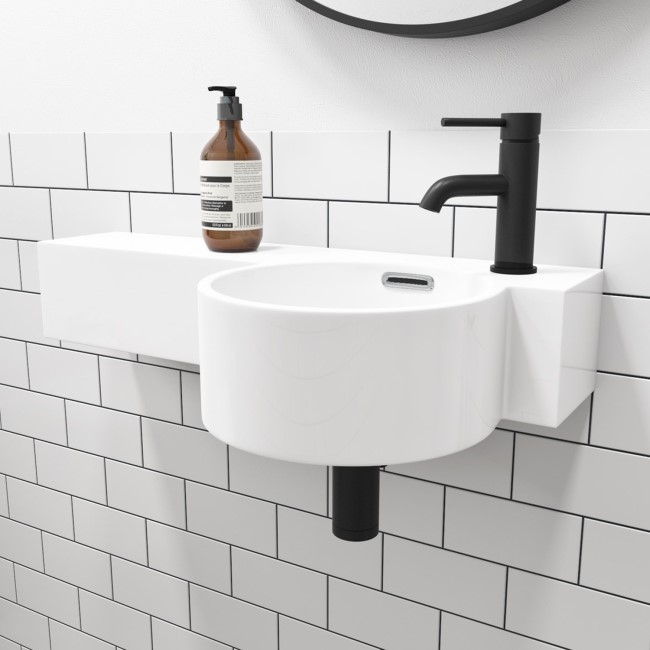 Gloss White Round 550mm Wall Hung Basin with Shelf - Alcor