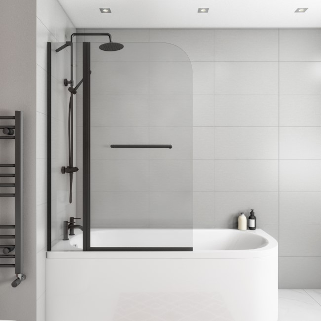 Selene Hinged Matt Black Bath Screen 1450mm with Fixed Panel and Towel Rail