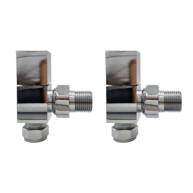 Chrome Square Angled Radiator Valves - For Pipework Which Comes From The Wall