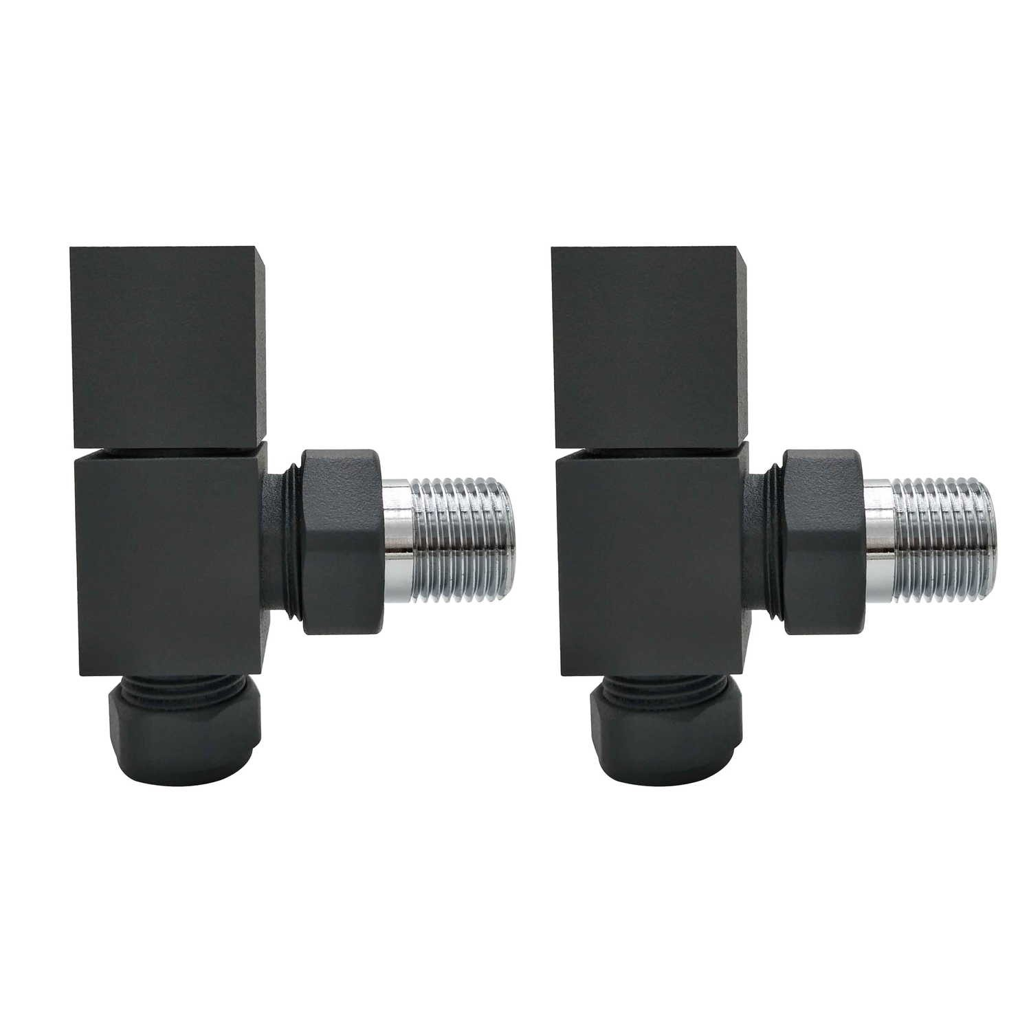 Anthracite Square Angled Radiator Valves For Pipework Which Comes From The Wall Furniture123