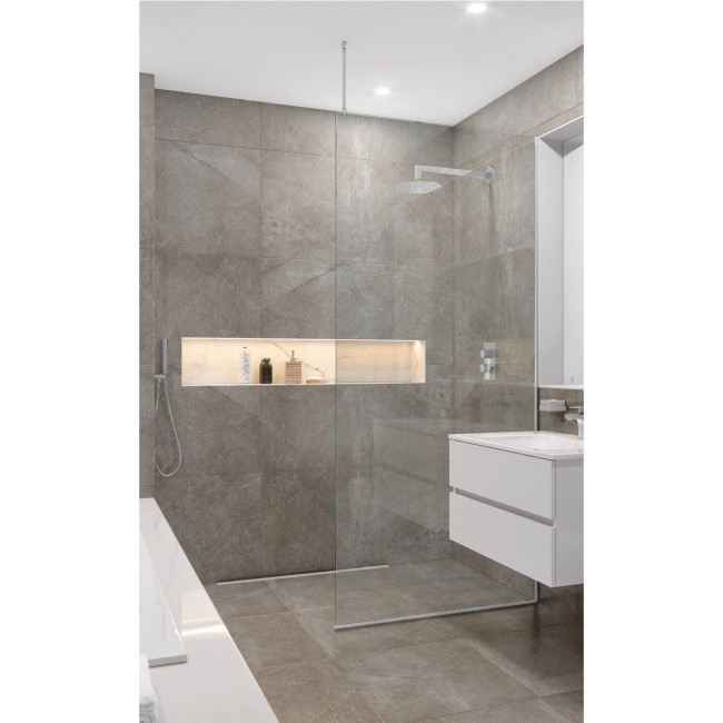 Wetroom Screen with Ceiling Bar 2000 x 700mm - 8mm Glass - Chrome