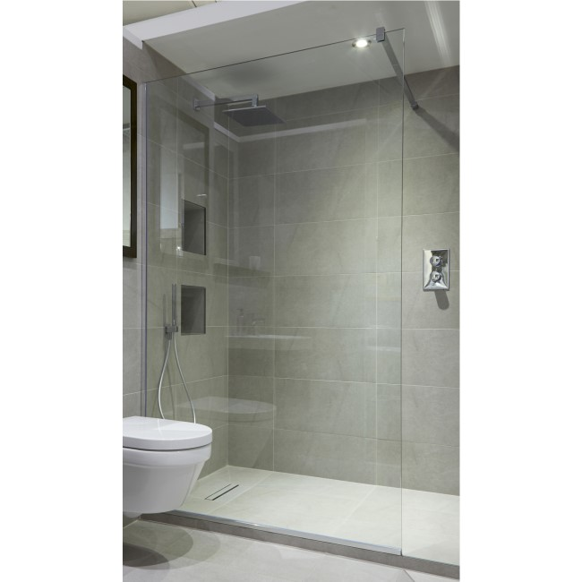 Wetroom Screen with Wall Bar 2000 x 1000mm - 8mm Glass - Chrome