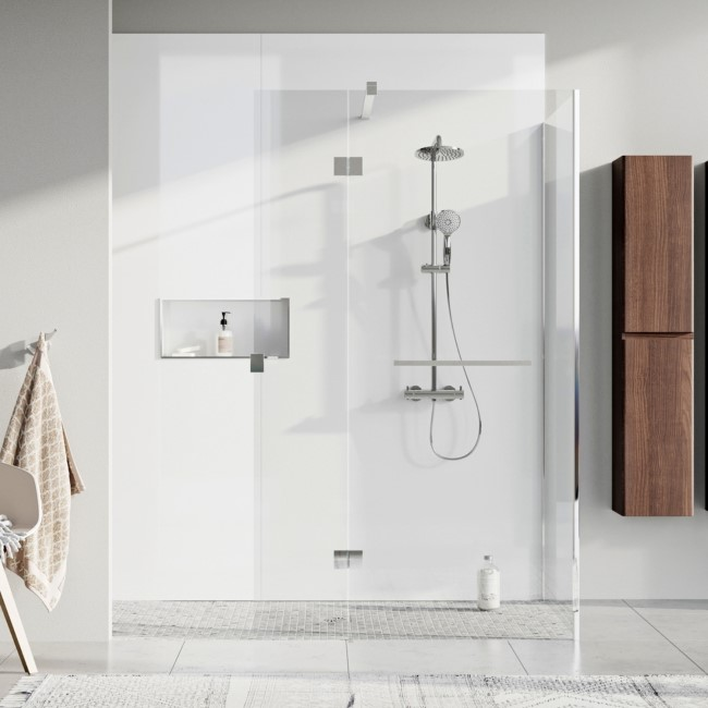 Wetroom Screen and Pivot Return Panel  700 x 350mm - 8mm Glass - Chrome