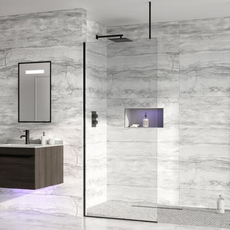 Wetroom Screen with Ceiling Bar 2000 x 700mm - 8mm Glass - Black