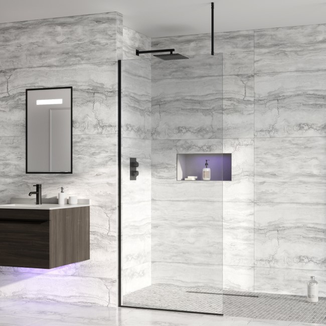 Wetroom Screen with Ceiling Bar 2000 x 900mm - 8mm Glass - Black