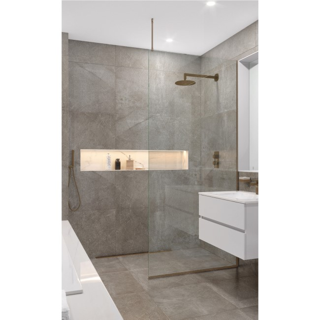 Wetroom Screen with Ceiling Bar 2000 x 1100mm - 8mm Glass - Brushed Bronze