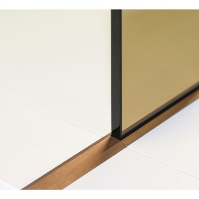 Wetroom Screen with Wall Bar 2000 x 800mm - 8mm Glass - Brushed Bronze
