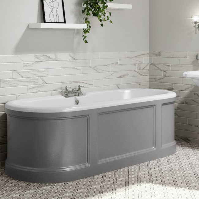 Baxenden Freestanding Double Ended Bath Grey - 1700 x 750mm